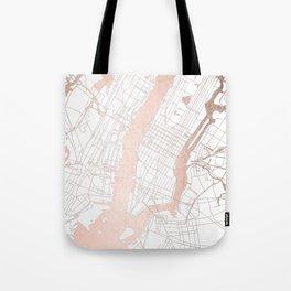 New York City White on Rosegold Street Map Tote Bag