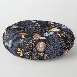 dark wild forest mushrooms Floor Pillow