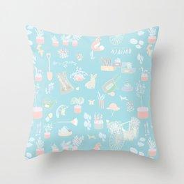 Vintage Garden on soft blue Throw Pillow