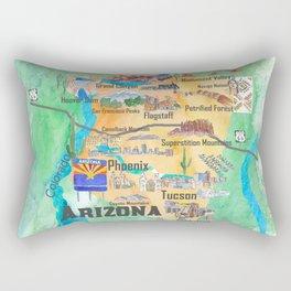 USA Arizona State Travel Poster Illustrated Art Map Rectangular Pillow