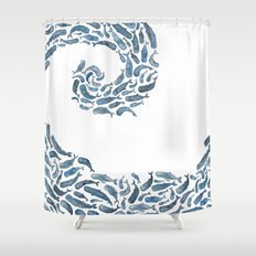 Whale Wave.  Shower Curtain