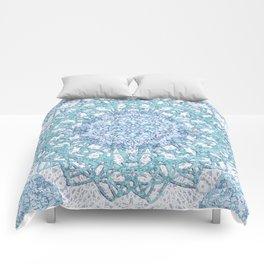 Aqua Lace Mandala Comforters