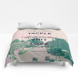 tackle the shit out of love. (pink & green) Comforters