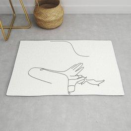 Whisper female male body couple line art black white modern contemporary art illustration Rug