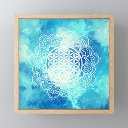 Flower Of Life (Summer Sky) Framed Mini Art Print