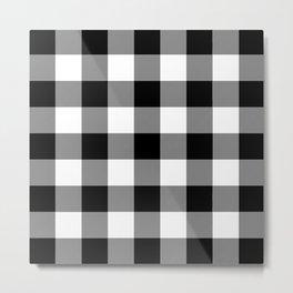 Black and White Buffalo Plaid Metal Print
