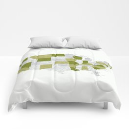 Green and grey USA map with labels Comforters