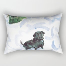A curious Coco waits to play in the snow, Touro Park, Newport Rectangular Pillow