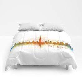 Dubai, emirates, City Cityscape Skyline watercolor art v3 Comforters