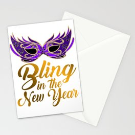 Bling In The New Year Mask Stationery Cards