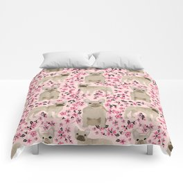 French Bulldog fawn coat cherry blossom florals dog pattern floral dog breeds Comforters