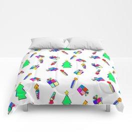 Ho Ho Ho Merry Christmas Illustration Colorful Pattern Comforters