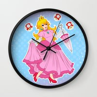 princess peach Wall Clocks featuring PRINCESS PEACH by Laurdione