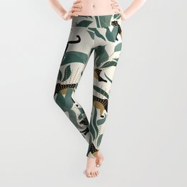Tropical Landscape with Panthers and Sun / Green Leggings