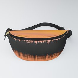 Orange Sunset With Forest Reflection On Lake Fanny Pack