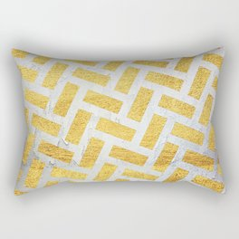 Brick Pattern 1 in Gold and Silver Rectangular Pillow