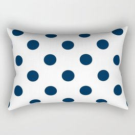 Polka Dots - Oxford Blue on White Rectangular Pillow