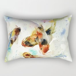 Watercolor Koi Pond Rectangular Pillow