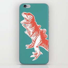 Dino Pop Art - T-Rex - Teal & Dark Orange iPhone Skin