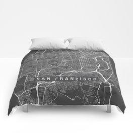 San Francisco Map, California USA - Charcoal Portrait Comforters