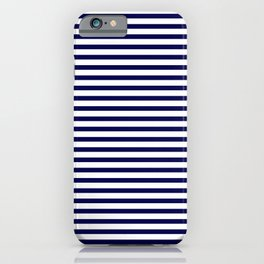 Navy Blue & White Maritime Small Stripes- Mix & Match with Simplicity of Life iPhone Case
