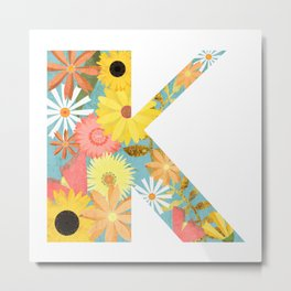 The Letter K with Flowers - Folk Art Textured Metal Print