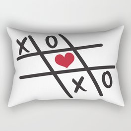 Tic Tac Toe XOXO and Red Heart Rectangular Pillow