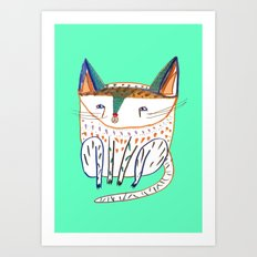 cat illustration, cats art, cat decor Art Print