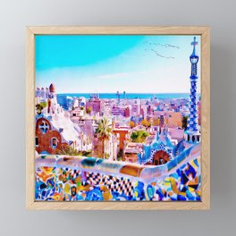 Park Guell Watercolor painting Framed Mini Art Print