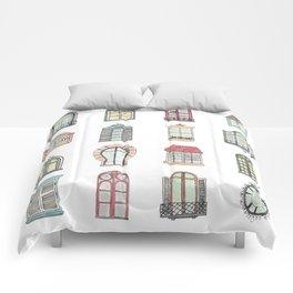 Paris windows watercolor Comforters