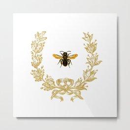 French Bee acorn wreath Metal Print