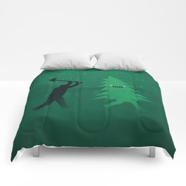 Funny Cartoon Christmas tree is chased by Lumberjack / Run Forrest, Run! Comforters