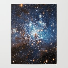 Merkaba in Flower of Life Poster