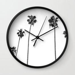 Black + White Palms Wall Clock