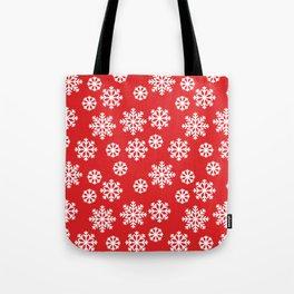 Winter Big White Snowflakes Pattern Red Tote Bag