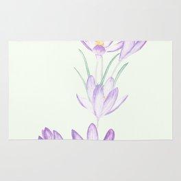 purple botanical crocus flowers Rug