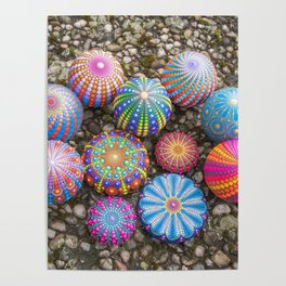Collection of hand painted mandala stones Poster