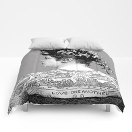 Tattooed Victorian Woman Comforters