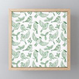 Winter Birds and Foliage Pattern (Green) Framed Mini Art Print
