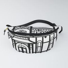 Old Victorian House - black & white Fanny Pack