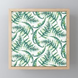 Lush green fern leafs pattern Framed Mini Art Print