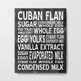 Cuban Flan Word Food Art Poster (Black) Metal Print