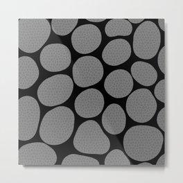 Grey on Black Abstract Pattern Metal Print