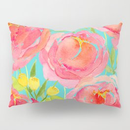 Pink Peonies On Turquoise - Watercolor Floral Print  Pillow Sham