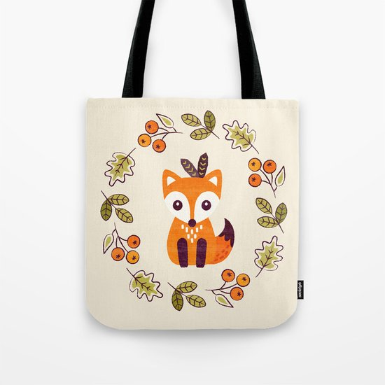 LITTLE FOX WITH AUTUMN BERRIES Tote Bag