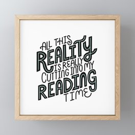 Reality Vs. Reading Time - Black Mint Framed Mini Art Print