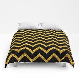 Art Deco Glitter-Gold Zigzag Lines on Black Pattern Comforters