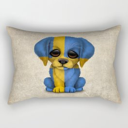 Cute Puppy Dog with flag of Sweden Rectangular Pillow