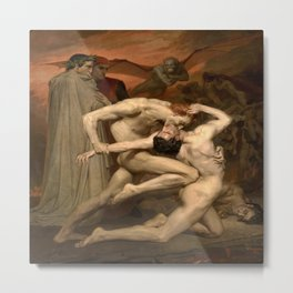 William-Adolphe Bouguereau's Dante and Virgil in Hell Metal Print