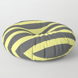 Yellow Buttercup Stripes on Grey Background Floor Pillow